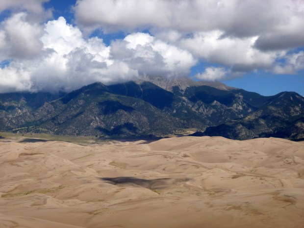 View of the Sangre de Christo Mountains from top of High Dune, Great Sand Dunes National Park, Colorado