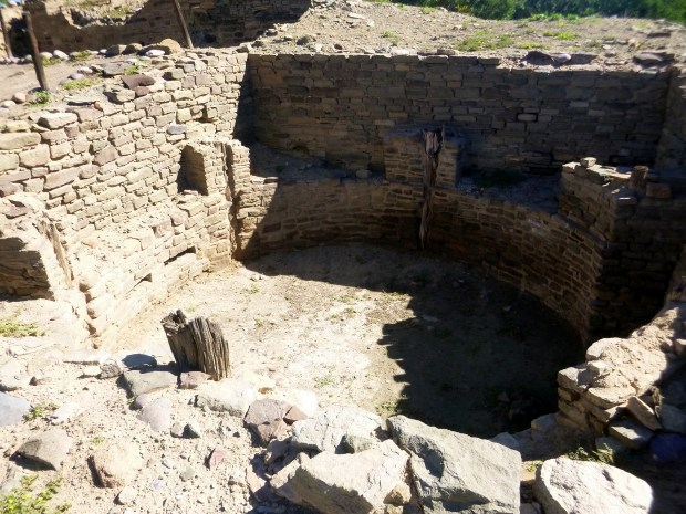 Small kiva with original wood posts within main pueblo block, ca. 1088 - 1090 AD, Salmon Ruins, New Mexico