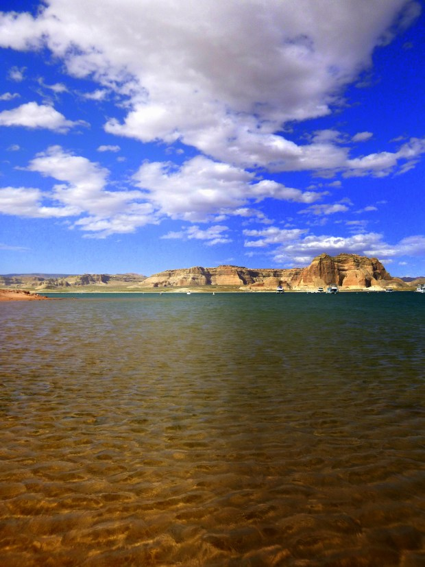 View from the beach, Lake Powell, Glen Canyon National Recreation Area, Arizona