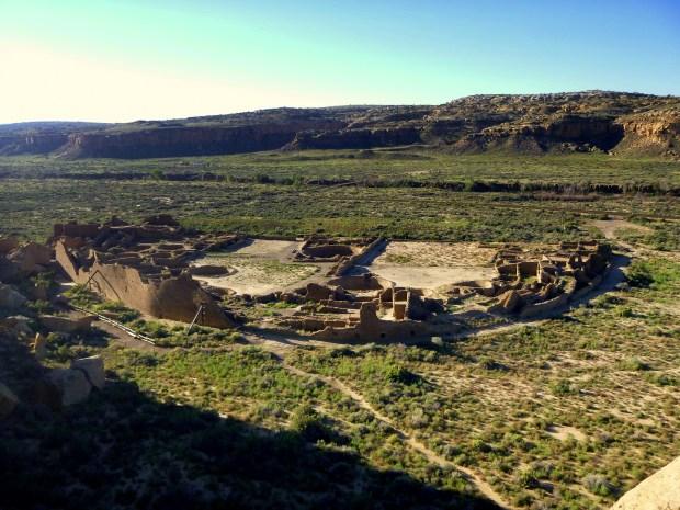 Pueblo Bonito from rim of canyon, Pueblo Alto Trail, Chaco Canyon Historical Park, New Mexico