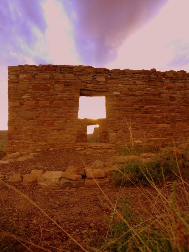 Autumnal equinox sunrise through north-south doors on September 22, 2013 6:59 AM, Casa Rinconada, ca. 1070 - 1110 AD, Chaco Canyon National Historical Park, New Mexico
