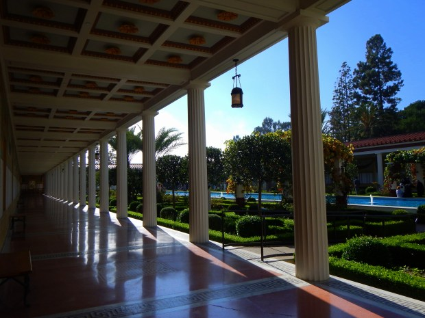 View of the gardens from the portico of the Outer Peristyle, Getty Villa, Los Angeles, California