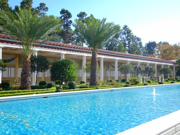 View of the gardens and the pool in the Outer Peristyle, Getty Villa, Los Angeles, California
