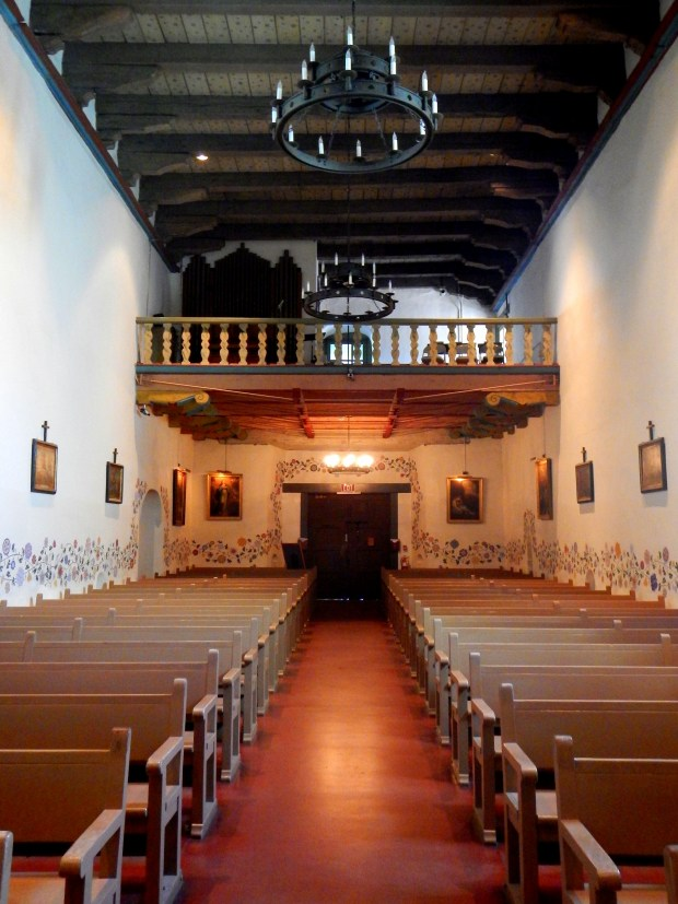 Balcony looking back from near altar, Mission San Luis Obispo, California