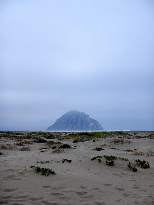 Morro Rock in the mist, Cayucos State Beach, Morro Bay, California