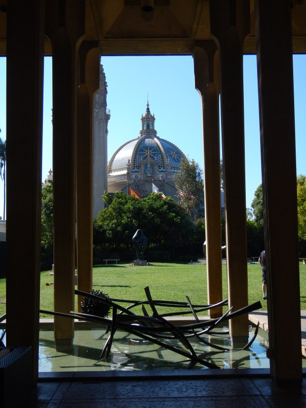 Sculpture Garden looking out to Museum of Man, Balboa Park, San Diego, California