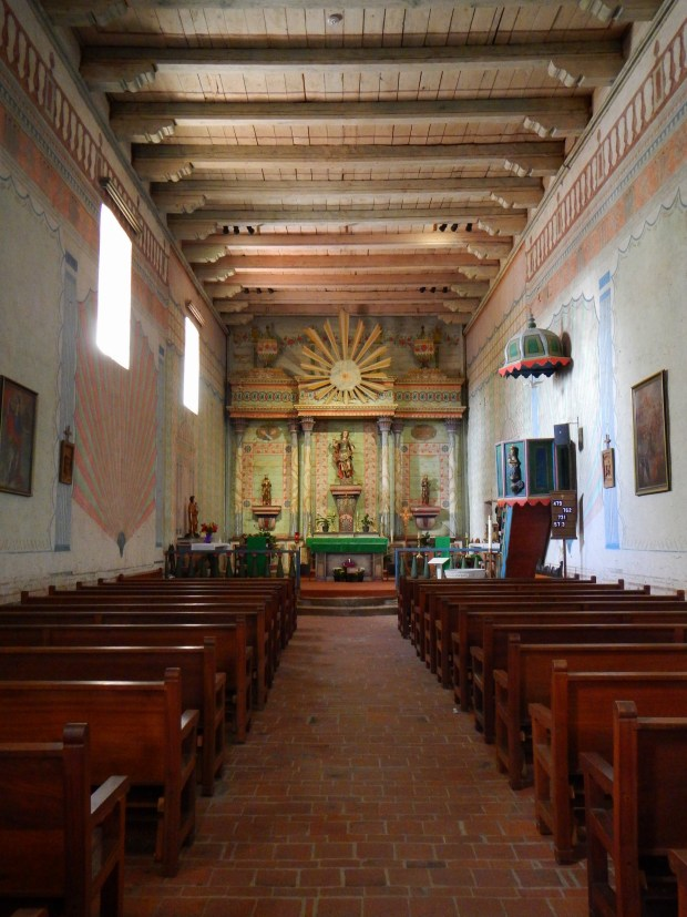 Interior of nave looking to altar, Mission San Miguel Archangel, California