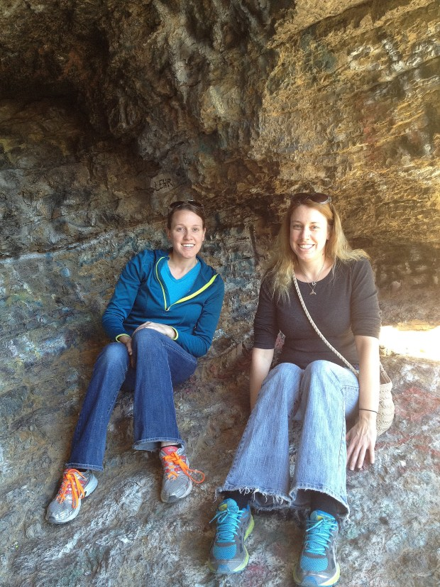 Chrissy and Carrie in the cave, Ron Coleman Trail, McKelligon Canyon, El Paso, Texas