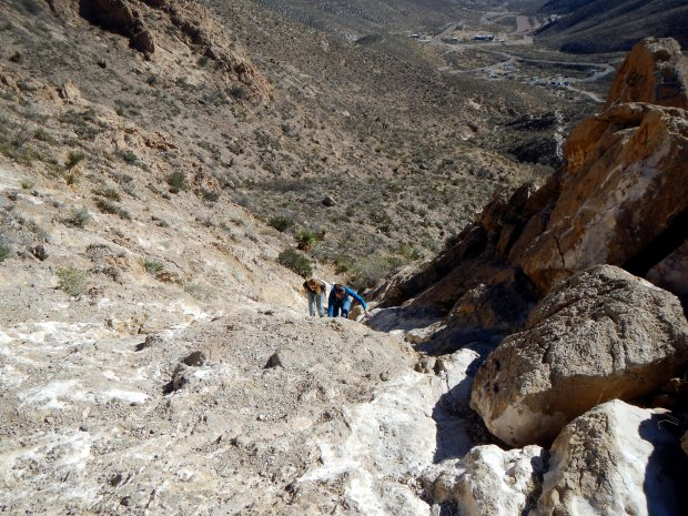 Carrie and Chrissy ascending, Ron Coleman Trail, McKelligon Canyon, El Paso, Texas
