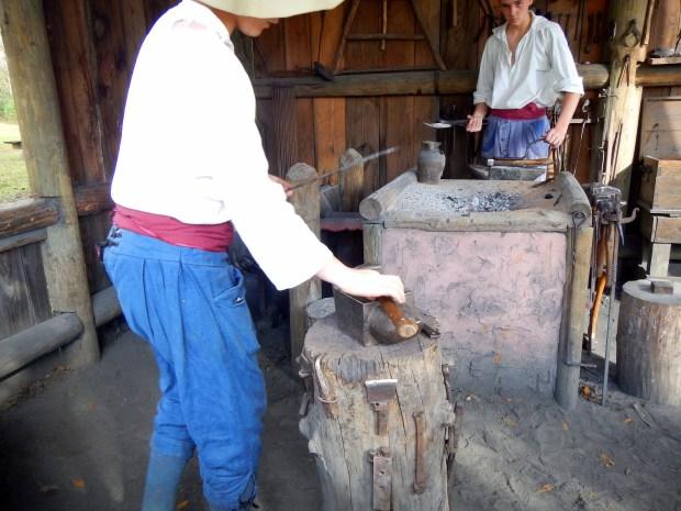 Hammering my nail, Blacksmith Shop, Mission San Luis de Apalachee, Tallahassee, Florida