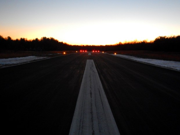 Sun setting over runway at Sewanee Airport, Sewanee, Tennessee