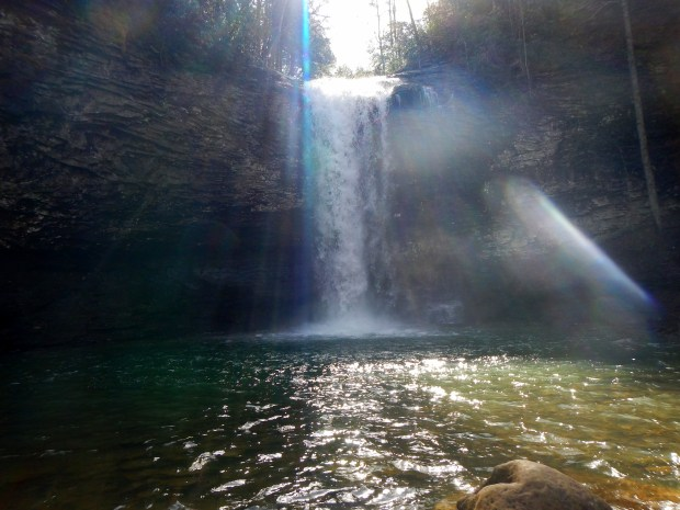 Sunlight bursting over Cherokee Falls, Waterfalls Trail, Cloudland Canyon State Park, Georgia