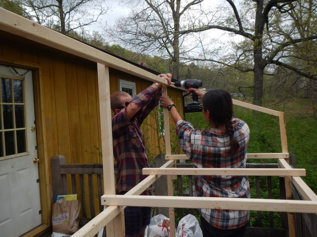 Daniel and I drilling in the roof supports, Jasper, Tennessee