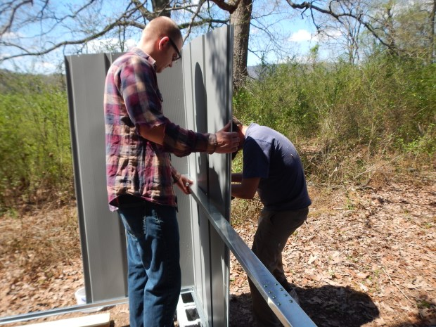 Daniel and Jonathan bracing the corners, Jasper, Tennessee