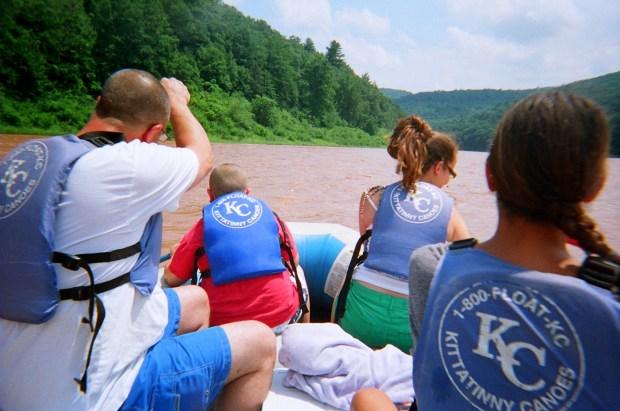 Starting off! Kurt, Gabe, McKenzie, and I paddling, Delaware River, Pennsylvania/New York