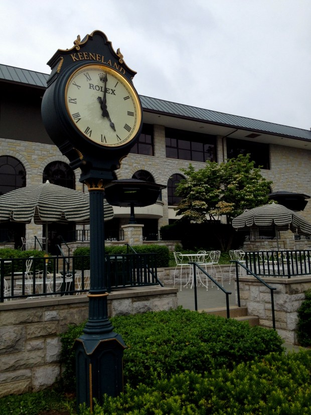 Clock and patio, Keeneland Racetrack, Lexington, Kentucky