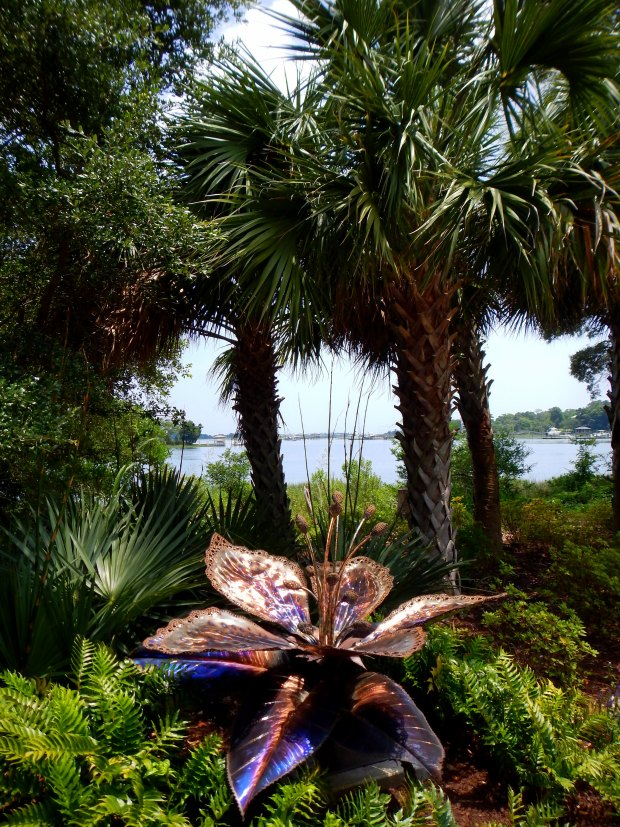 Sculpture amidst the palms, Airlie Gardens, Wilmington, North Carolina