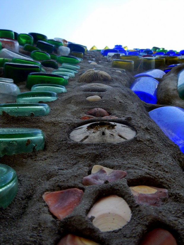 Shell fragments and bottles embedded in wall, Bottle Chapel, Minnie Evans Sculpture Garden, Airlie Gardens, Wilmington, North Carolina