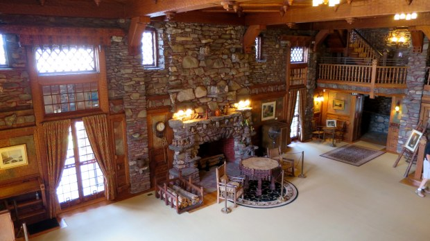 Looking down on living room, Gillette's Castle, Gillette Castle State Park, Connecticut