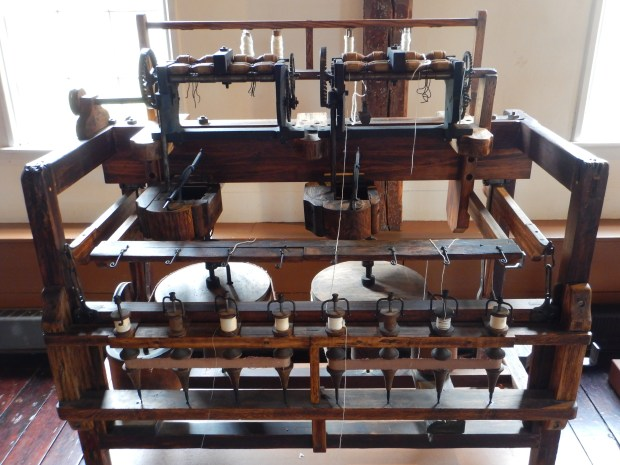 Replica of Arkwright water frame from 1950, Slater Mill, Slater Mill Historic Site, Pawtucket, Rhode Island