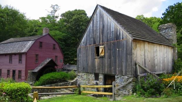 Back of Hammond Mill showing basement-level access door to grain floor, Gilbert Stuart Museum, Saunderstown, Rhode Island