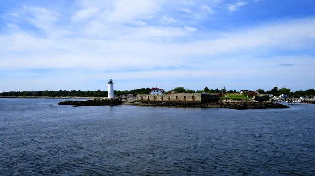 Fort Constitution and Portsmouth Harbor Lighthouse from boat, New Hampshire