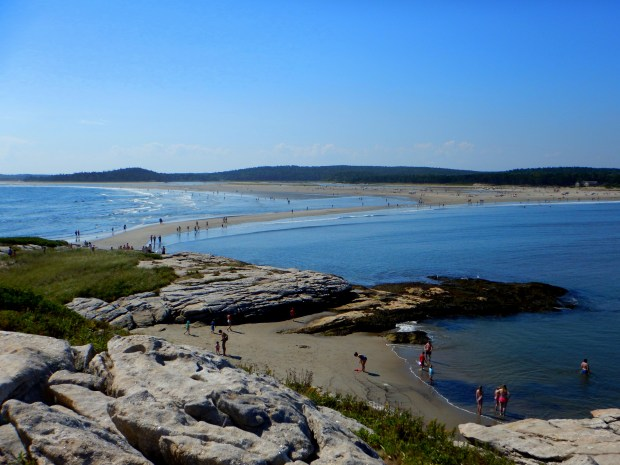 Looking back on the beach and the sand bridge from the island, Popham Beach State Park, Maine