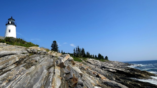 Tower and shoreline, Pemaquid Point Lighthouse, Maine