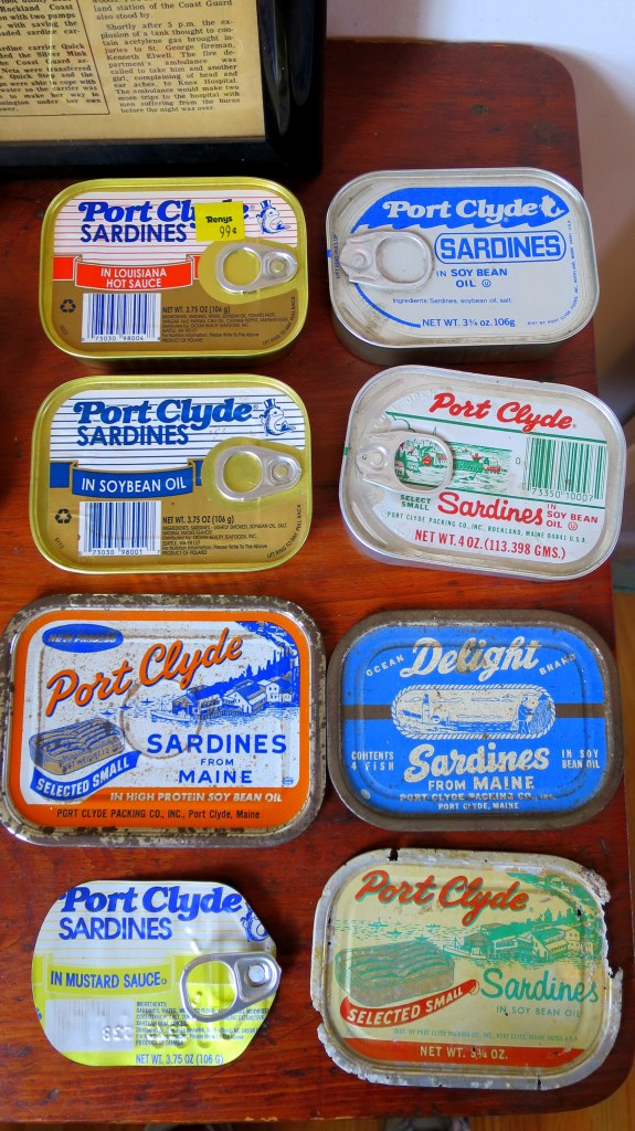 Sardine tins from the Port Clyde Sardine Factory which exploded in 1970, Marshall Point Lighthouse, Port Clyde, Maine