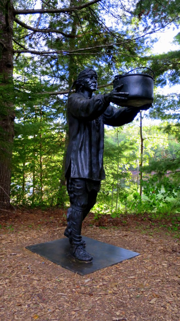 Sculpture of Passamaquoddy native making offering,  St. Croix Island International Historical Site, Maine