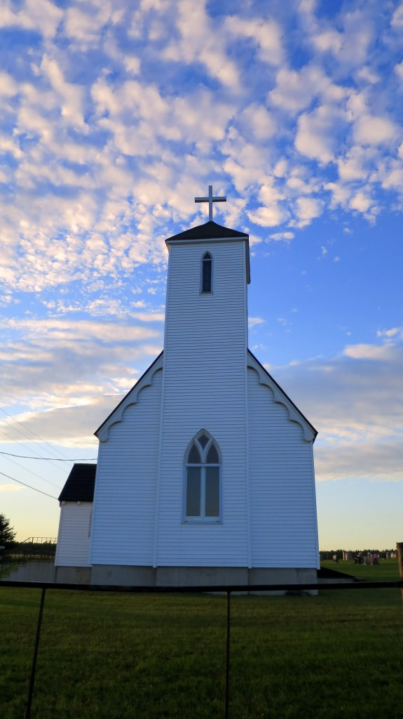 Sunset near church, New Brunswick, Canada