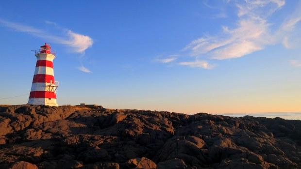 Western Light with basalt in foreground, Brier Island, Nova Scotia, Canada