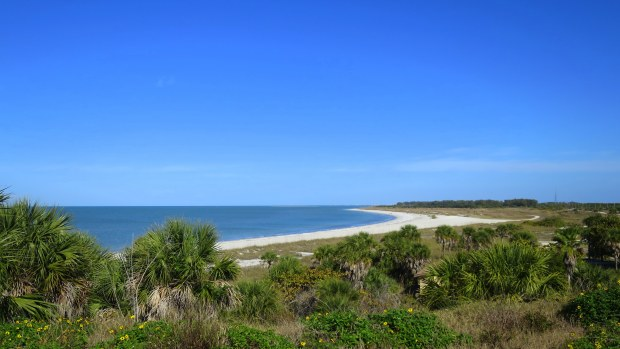 View of Tampa Bay from the top of the battery, Fort De Soto Park, Florida