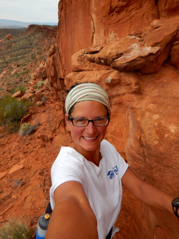 Going up the cliffs (or, what I do when I'm waiting for the person in front of me to scramble up to the next level), Red Cliffs National Conservation Area, Utah
