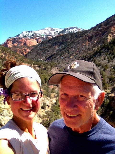 Tom and I standing on cliffs above the waterfall, Camp Creek, Zion National Park, Utah