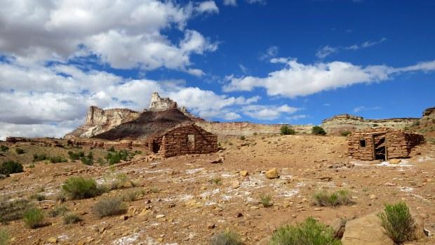 Abandoned uranium mine buildings, San Rafael Swell BLM Area, Utah