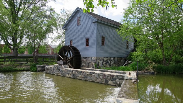 Loranger Gristmill, originally built in 1830 on Stony Creek, Monroe, Michigan, relocated to Greenfield Village, Michigan