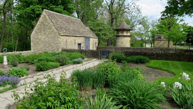 Recreated outer buildings and grounds from Cotswold Cottage, originally built in Chedworth, Gloustershire, England in early 17th century and relocated to Greenfield Village, Michigan