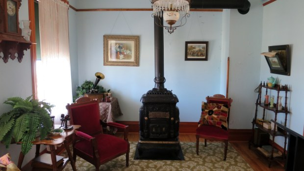 Keeper's living room, Old Mackinac Point Lighthouse, Michilimackinac State Park, Michigan