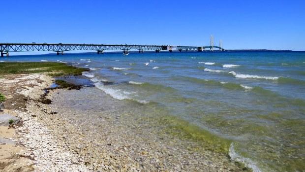 The Mackinac Bridge and the Straits of Mackinac, Michilimackinac State Park, Michigan