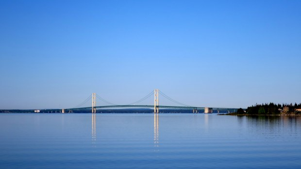 View of the Mackinac Bridge leaving St. Ignace, Michigan