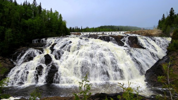 View from around the side of the base of High Falls, Magpie River, Ontario, Canada