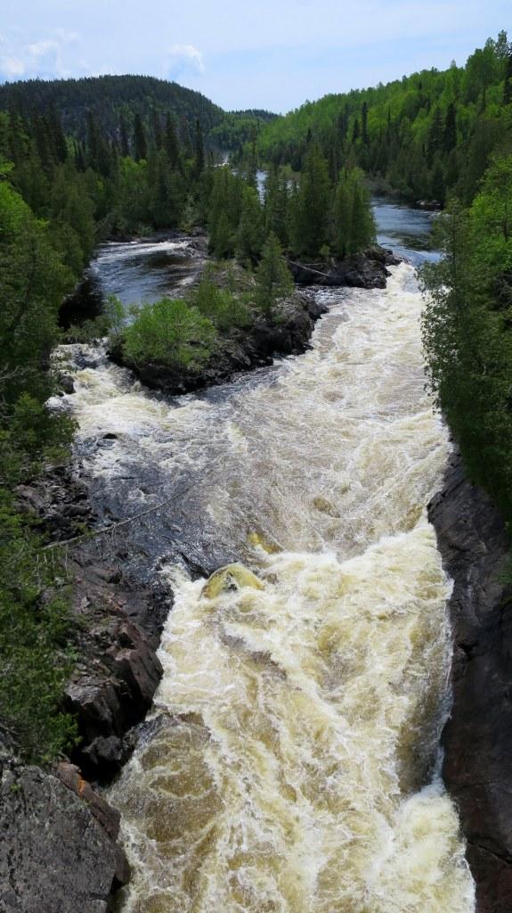 White River from suspension bridge, Coastal Trail, Pukaskwa National Park, Ontario, Canada