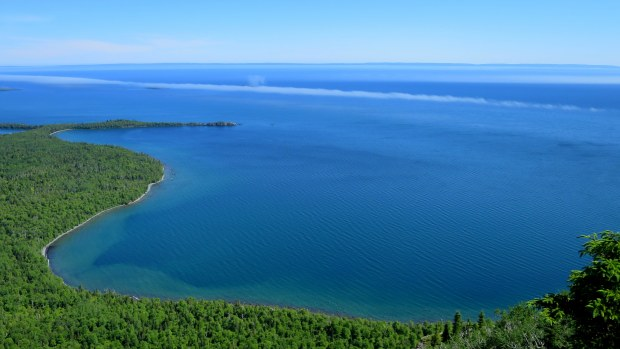 Blue water and fog below, Top of the Giant Trail, Sleeping Giant Provincial Park, Ontario, Canada
