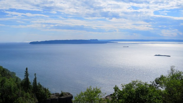 Looking across Thunder Bay from Top of the Giant Trail, Sleeping Giant Provincial Park, Ontario, Canada