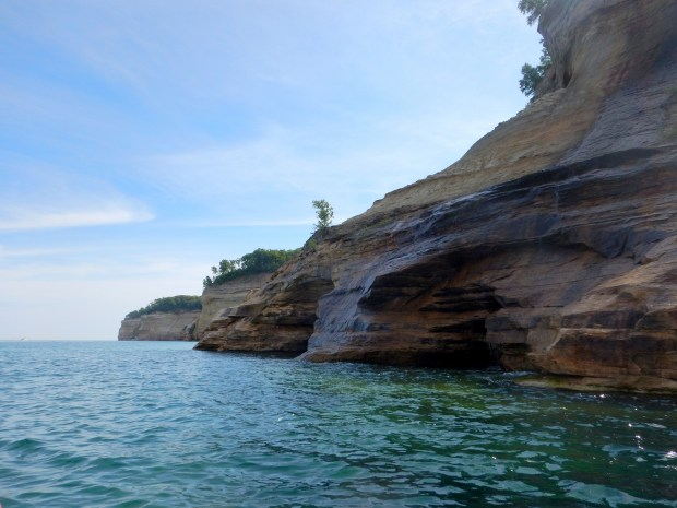 Paddling through turquoise waters, Pictured Rocks National Lakeshore, Michigan