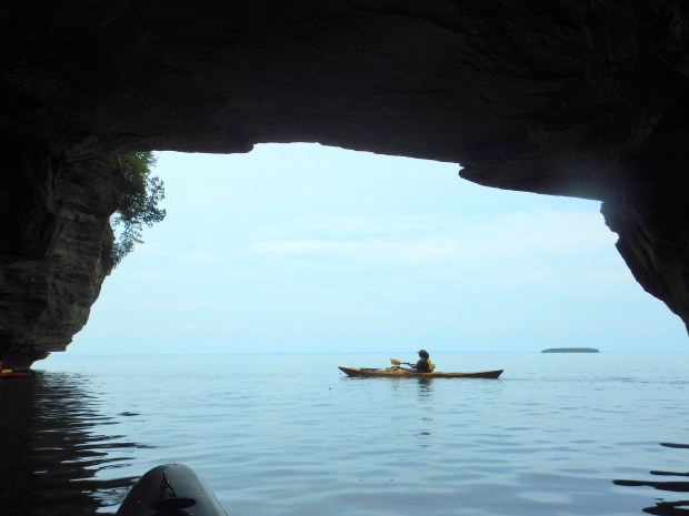 Looking out from a cave at our guide Liz, Apostle Islands National Lakeshore, Wisconsin