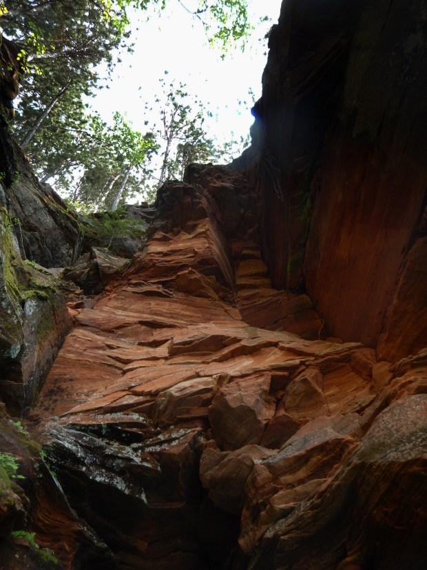 Looking up a cliff, Apostle Islands National Lakeshore, Wisconsin
