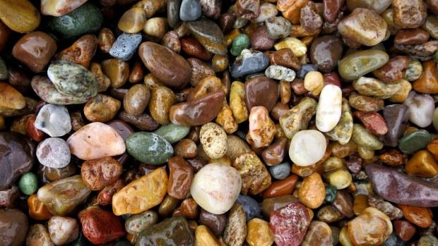 Beach rocks on Lake Superior shore, Marquette, Michigan