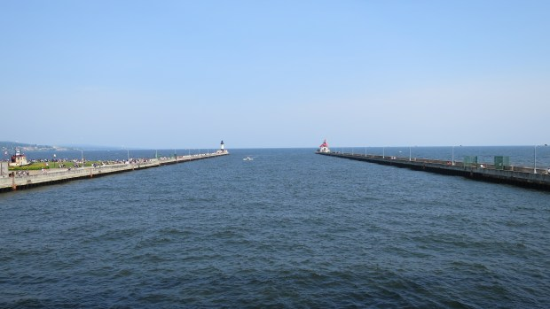 Harbor lights viewed from aerial lift bridge, Canal Park, Duluth, Minnesota